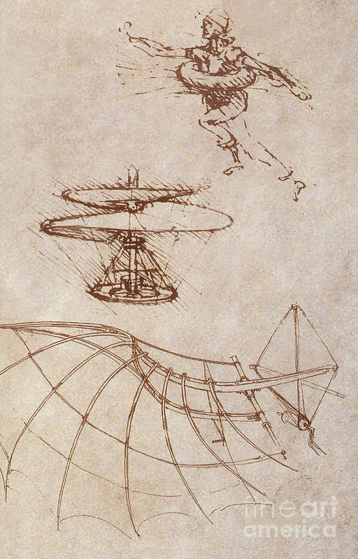 People Print featuring the photograph Drawings By Leonardo Divinci by Science Source