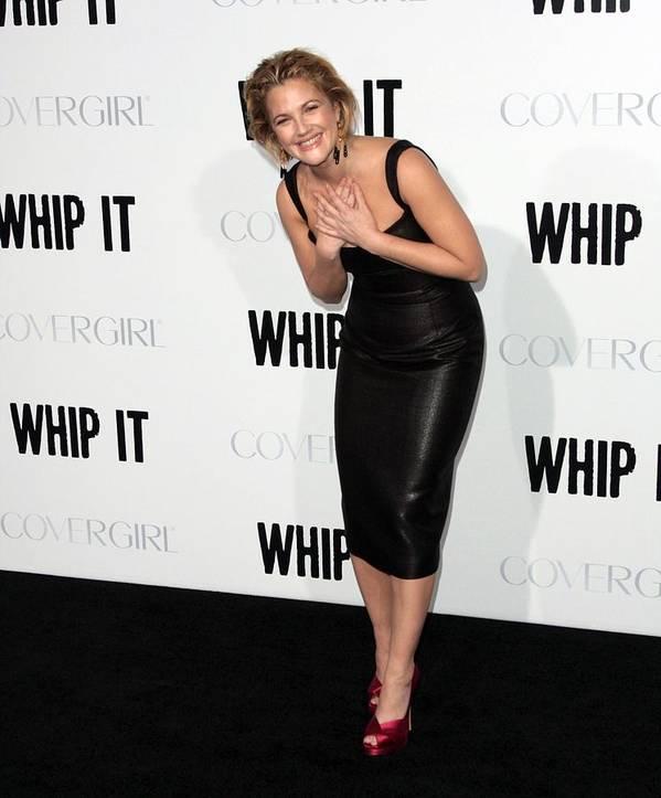 Drew Barrymore Print featuring the photograph Drew Barrymore Wearing A Lwren Scott by Everett