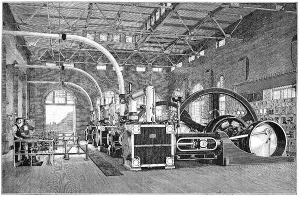 Human Print featuring the photograph Electric Tramway Generator, 19th Century by