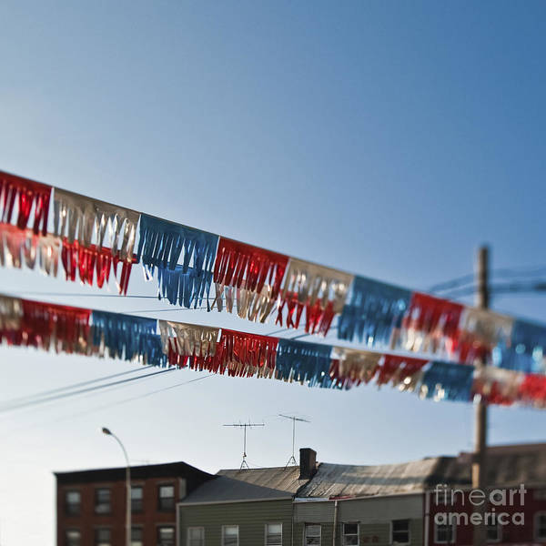 4th Of July Print featuring the photograph Exterior Red White And Blue Decorations by Eddy Joaquim