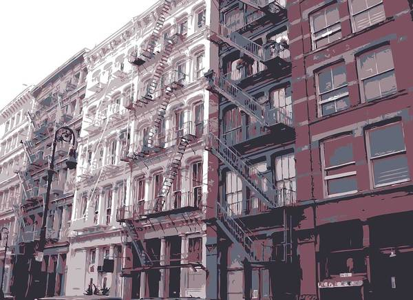 New York City Fire Escapes Print featuring the photograph Fire Escapes Color 6 by Scott Kelley