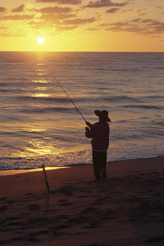 Hobe Sound National Wildlife Refuge Print featuring the photograph Fishing At Sunrise by Raymond Gehman
