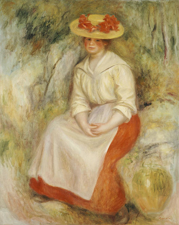 Impressionist; Impressionism; Portrait; Female; Seated; Sitting; Full Length Print featuring the painting Gabrielle In A Straw Hat by Pierre Auguste Renoir