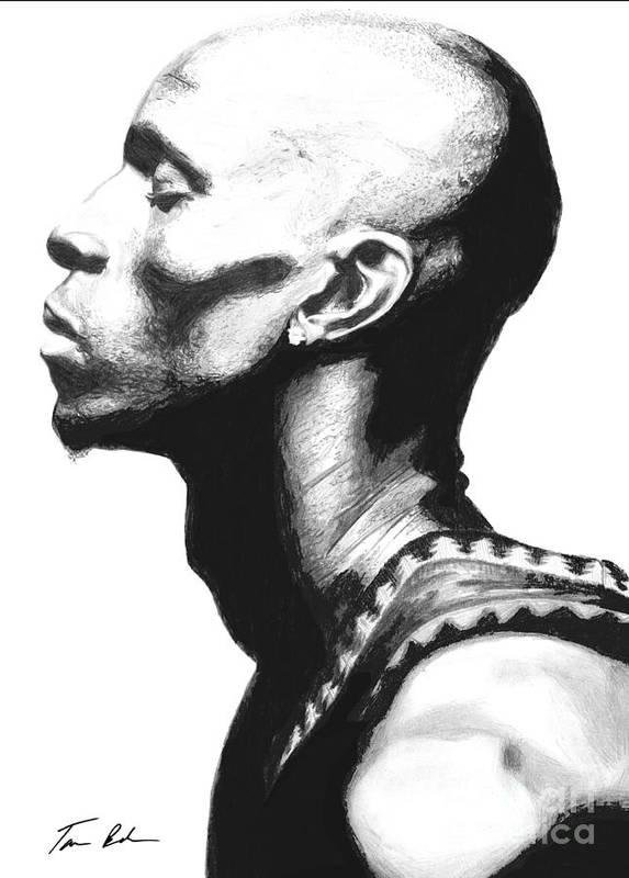 Kevin Garnet Print featuring the drawing Garnet by Tamir Barkan