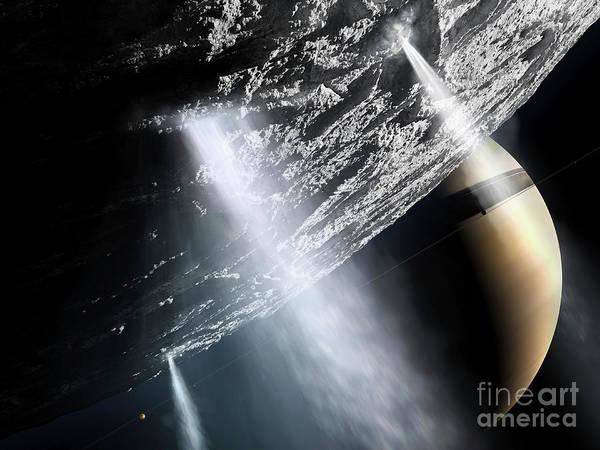 Enceladus Print featuring the digital art Geysers Of Enceladus Showing by Brian Christensen
