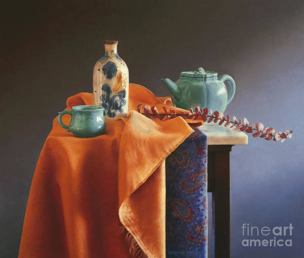 Still Life Print featuring the painting Glazed With Light by Barbara Groff