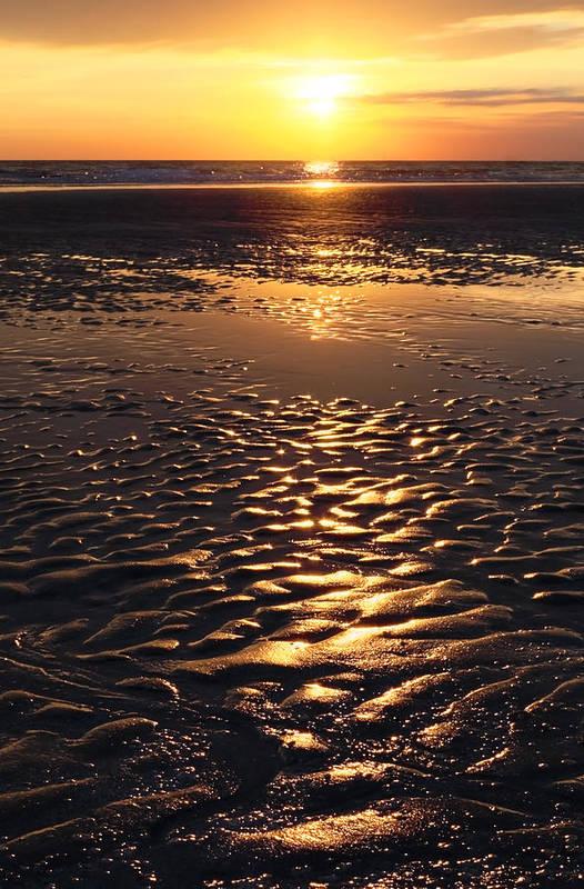 Abstract Print featuring the photograph Golden Sunset On The Sand Beach by Setsiri Silapasuwanchai