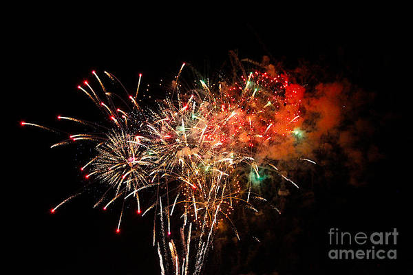 Fire Works Print featuring the photograph Grand Haven Mi Fireworks by Robert Pearson