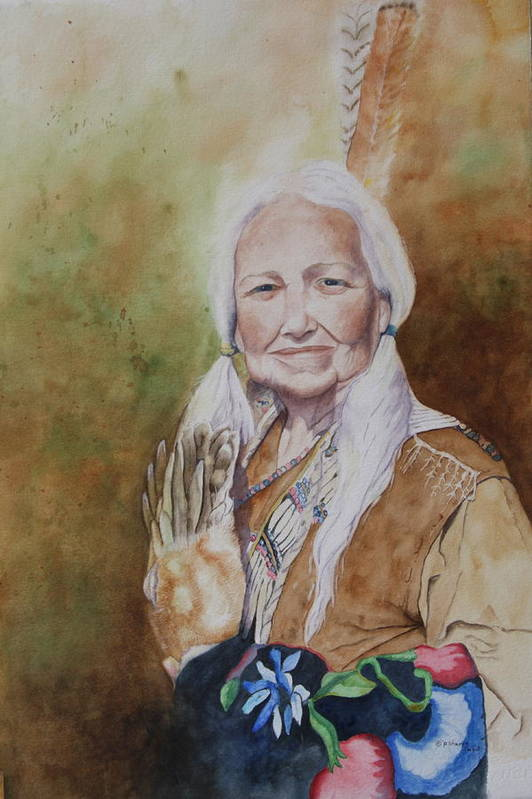 Native American Spirit Portrait Print featuring the painting Grandmother Many Horses by Patsy Sharpe