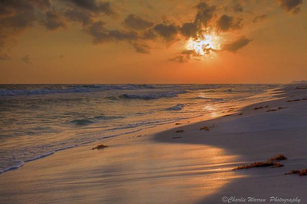 Sunset Print featuring the photograph Grayton Beach Sunset 7 by Charles Warren