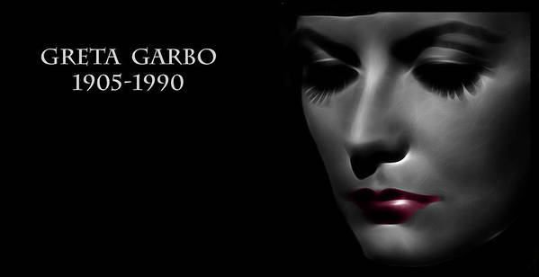 Greta Garbo Modern Digital Painting Pop Art Golden Twenties 20s Silent Hollywood Print featuring the digital art Greta Garbo 1905 1990 by Stefan Kuhn