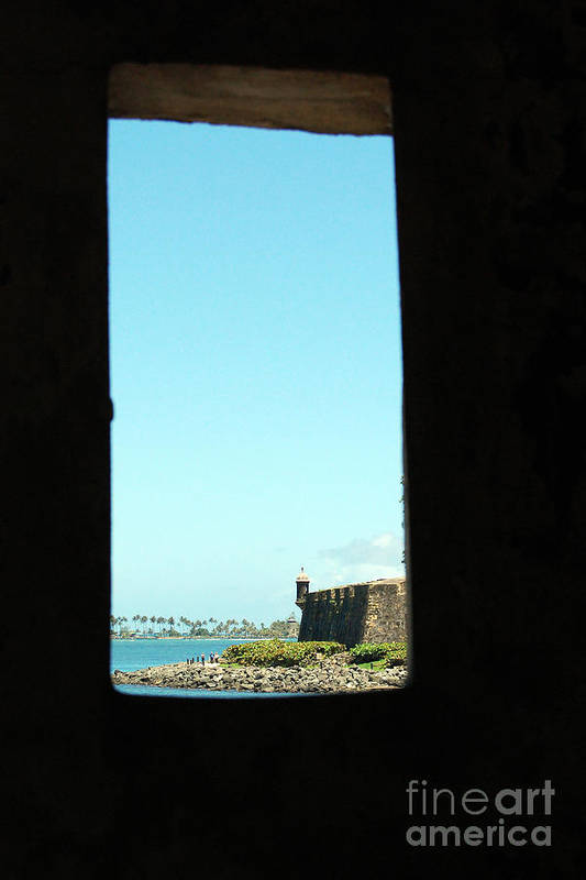 El Morro Print featuring the photograph Guard Tower View Castillo San Felipe Del Morro San Juan Puerto Rico by Shawn O'Brien