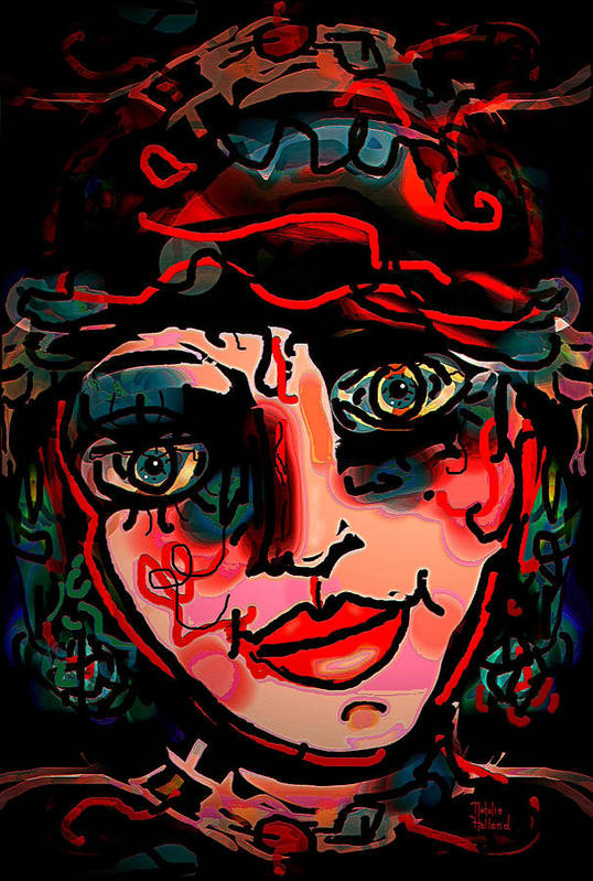 Expressionism Print featuring the mixed media Happy Girl by Natalie Holland