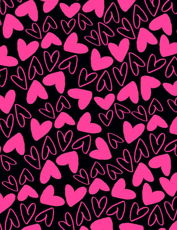Heart Print featuring the digital art Hearts by Louisa Knight