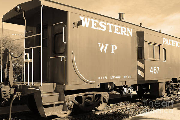 Black And White Print featuring the photograph Historic Niles District In California Near Fremont . Western Pacific Caboose Train . 7d10627 . Sepia by Wingsdomain Art and Photography