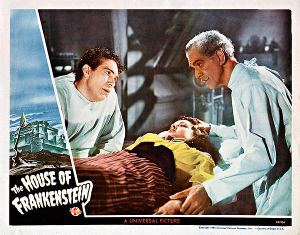 1940s Movies Print featuring the photograph House Of Frankenstein, From Left J by Everett