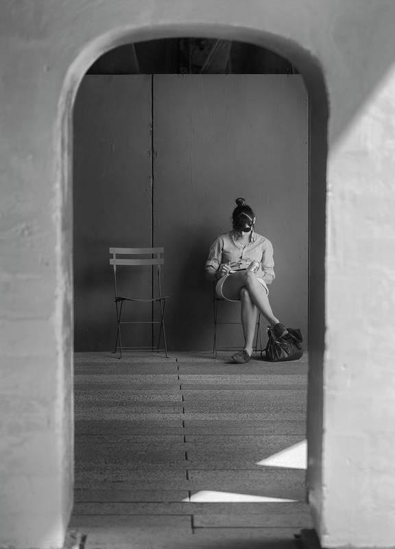 Candid Portrait Print featuring the photograph In The Doorway by Robert Ullmann