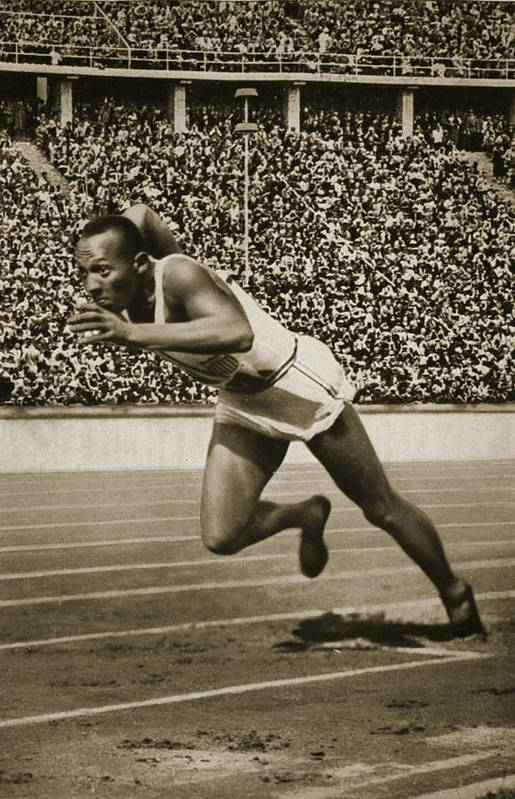 Sprinting; Sprint; Runner; Running; Winner; Champion; Stadium; Crowd; Stand; Male; Track; Competition; Speed Print featuring the photograph Jesse Owens by American School