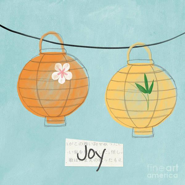 Joy Print featuring the painting Joy Lanterns by Linda Woods