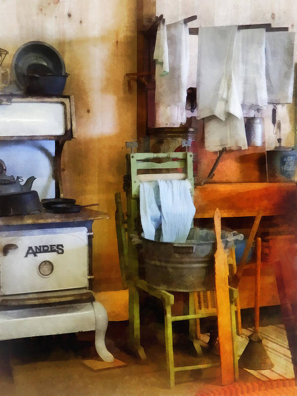 Farmhouse Print featuring the photograph Laundry Drying In Kitchen by Susan Savad
