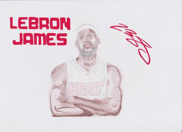 Lebron Print featuring the drawing Lebron James by Toni Jaso