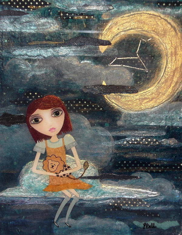 Zodiac Print featuring the painting Leo by Laura Bell