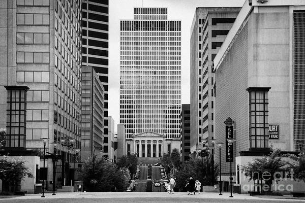 Deaderick Print featuring the photograph Looking Up Deaderick Street Towards War Memorial Plaza And The William Snodgrass Tennessee Tower by Joe Fox