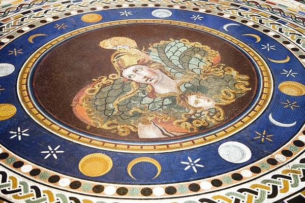Athena Print featuring the photograph Lunar Phases, 3rd Century Roman Mosaic by Sheila Terry