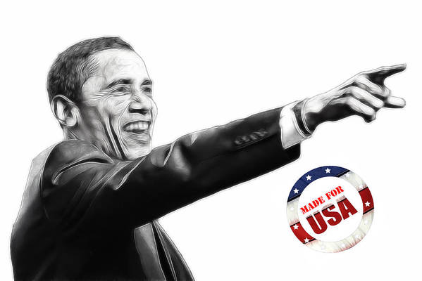 Barack Obama Water Watercolor Color Painting Texture President Usa Us 44 44th Print featuring the digital art Made For Usa by Stefan Kuhn