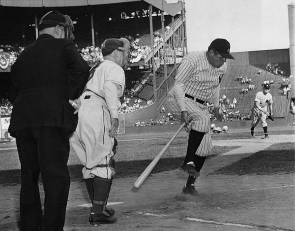 1940s Print featuring the photograph Major League Baseball. From Left Former by Everett