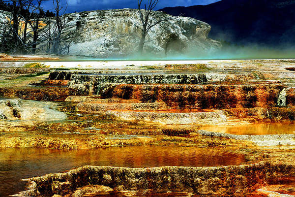 Yellowstone Print featuring the photograph Mammoth Terrace - Yellowstone by Ellen Heaverlo