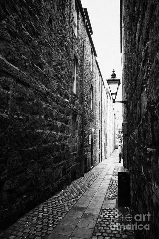 Martins Print featuring the photograph Martins Lane Narrow Entrance To Tenement Buildings In Old Aberdeen Scotland Uk by Joe Fox