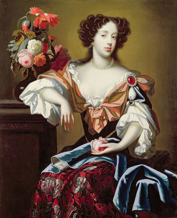 Mary Print featuring the painting Mary Of Modena by Simon Peeterz Verelst