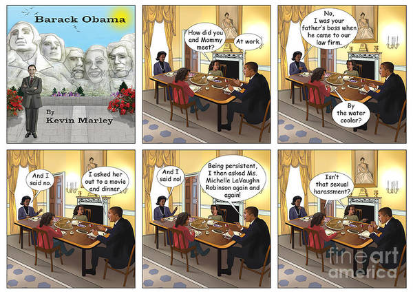 Barack Obama Print featuring the digital art Meeting Your Mother by Kevin Marley