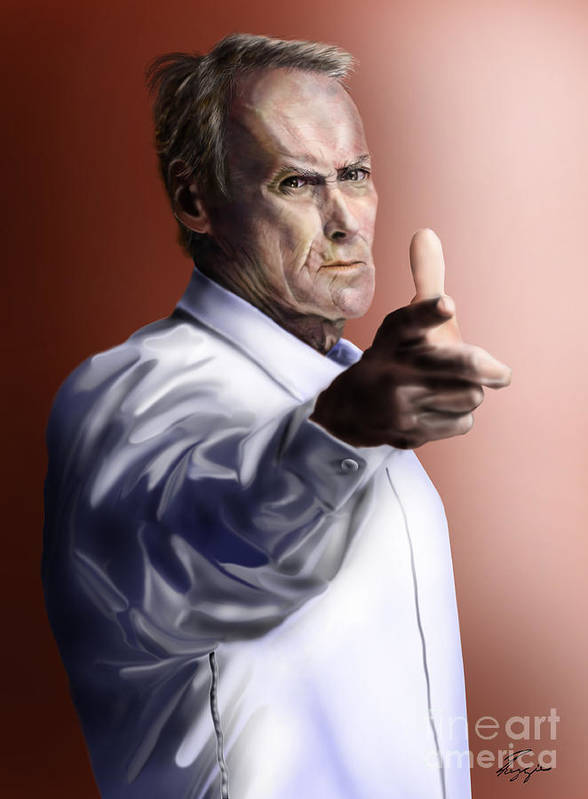 Dirty Harry Print featuring the painting Men Must Know Their Limitations-clint Eastwood by Reggie Duffie