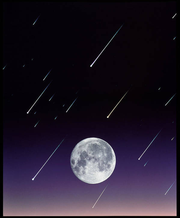 Round Shape Print featuring the photograph Meteors And Full Moon by David Nunuk