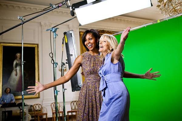 History Print featuring the photograph Michelle Obama And Jill Biden Joke by Everett