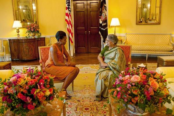History Print featuring the photograph Michelle Obama Meets With Mrs by Everett