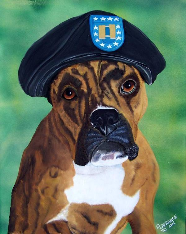 Boxer Print featuring the painting Military Boxer by Debbie LaFrance