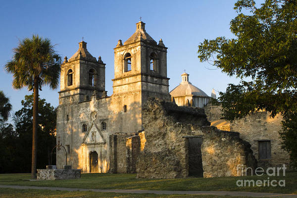 Mission Concepcion Print featuring the photograph Mission Concepcion In The Evening by Ellie Teramoto