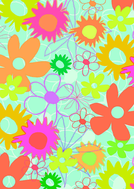 Louisa Print featuring the digital art Mixed Flowers by Louisa Knight