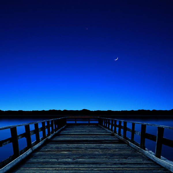 Square Print featuring the photograph Moon And Venus In The Blue by Carlos Gotay