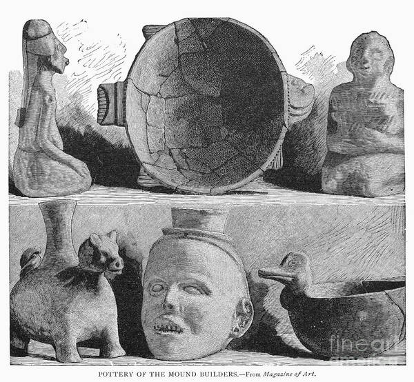 America Print featuring the photograph Mound Builders: Pottery by Granger