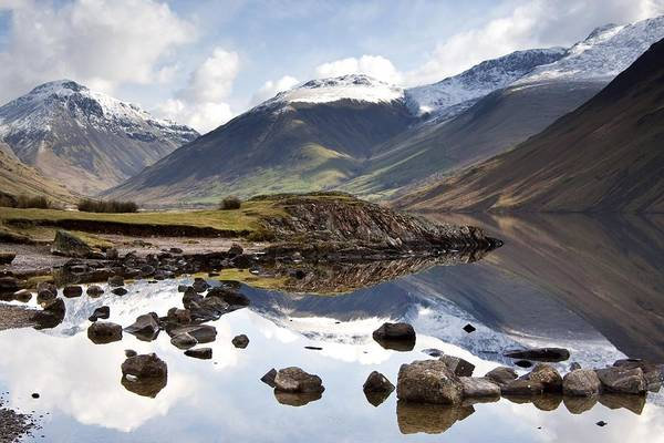 Cumbria Print featuring the photograph Mountains And Lake At Lake District by John Short