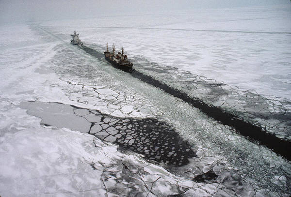 Outdoor Print featuring the photograph Multinational Fleet Of Icebreakers by Cotton Coulson