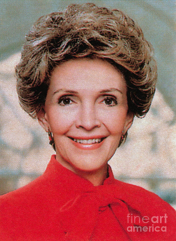 Historic Print featuring the photograph Nancy Reagan, 40th First Lady by Photo Researchers