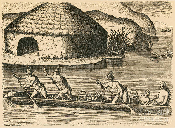 Historic Print featuring the photograph Native Americans Transporting Crops by Photo Researchers