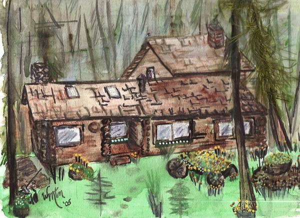 Log Cabin Print featuring the painting Neighbors Cabin Montana by Windy Mountain