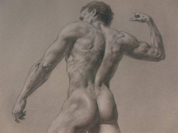 Man Print featuring the drawing Nude - 8 A by Valeriy Mavlo