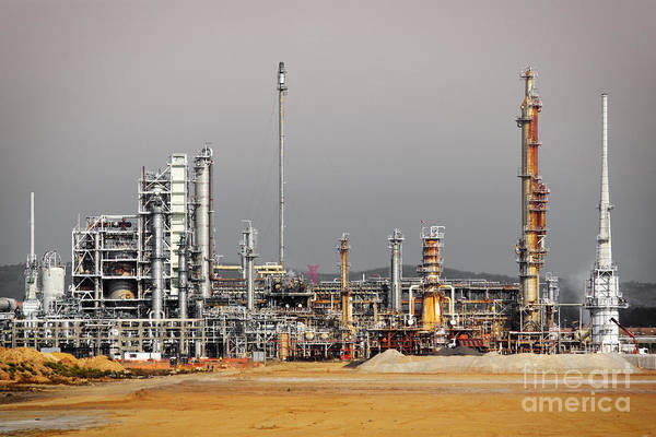 Atmosphere Print featuring the photograph Oil Refinery by Carlos Caetano